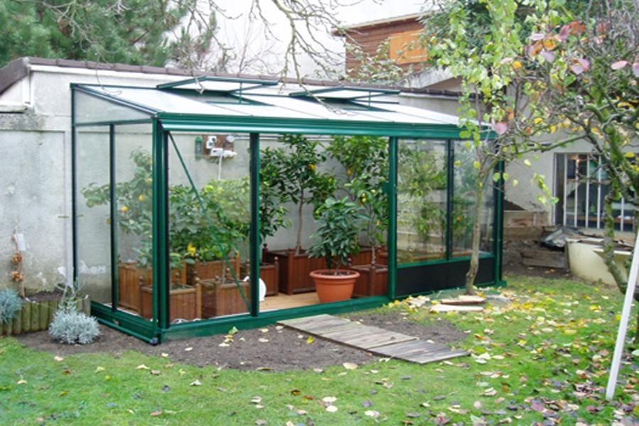 Serre de jardin adossée - Serre terrasse en verre - Crysland